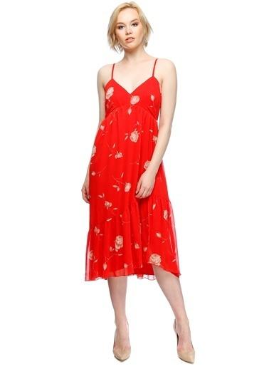 Beymen Studio Askılı Gül Desenli Kısa Elbise Kırmızı
